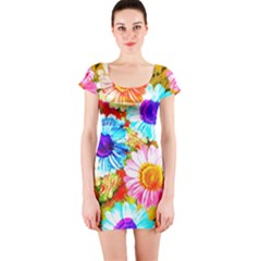 Colorful Daisy Garden Short Sleeve Bodycon Dress by DanaeStudio