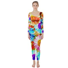 Colorful Daisy Garden Long Sleeve Catsuit by DanaeStudio