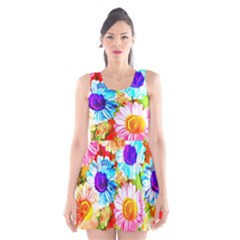 Colorful Daisy Garden Scoop Neck Skater Dress by DanaeStudio
