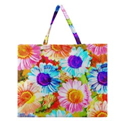 Colorful Daisy Garden Zipper Large Tote Bag by DanaeStudio