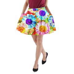 Colorful Daisy Garden A Line Pocket Skirt by DanaeStudio