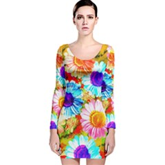 Colorful Daisy Garden Long Sleeve Velvet Bodycon Dress by DanaeStudio