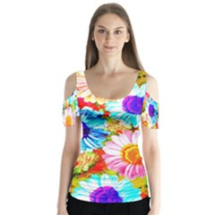 Colorful Daisy Garden Butterfly Sleeve Cutout Tee  by DanaeStudio