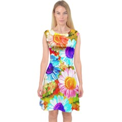 Colorful Daisy Garden Capsleeve Midi Dress by DanaeStudio