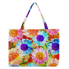 Colorful Daisy Garden Medium Zipper Tote Bag by DanaeStudio