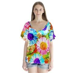 Colorful Daisy Garden Flutter Sleeve Top by DanaeStudio