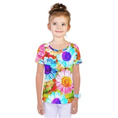 Colorful Daisy Garden Kids  One Piece Tee by DanaeStudio