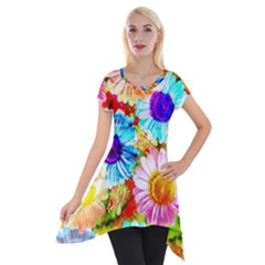 Colorful Daisy Garden Short Sleeve Side Drop Tunic by DanaeStudio