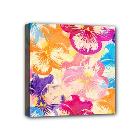 Colorful Pansies Field Mini Canvas 4  x 4