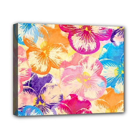 Colorful Pansies Field Canvas 10  x 8
