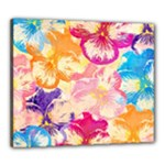 Colorful Pansies Field Canvas 24  x 20
