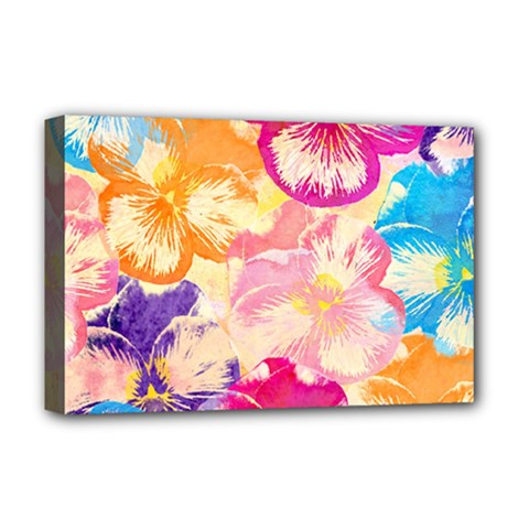 Colorful Pansies Field Deluxe Canvas 18  X 12   by DanaeStudio