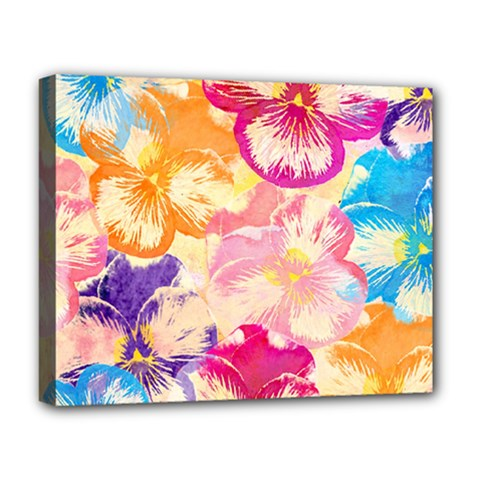 Colorful Pansies Field Deluxe Canvas 20  X 16   by DanaeStudio