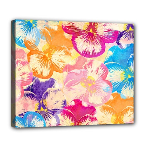 Colorful Pansies Field Deluxe Canvas 24  X 20   by DanaeStudio