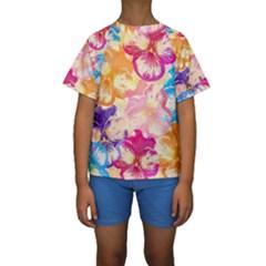 Colorful Pansies Field Kids  Short Sleeve Swimwear