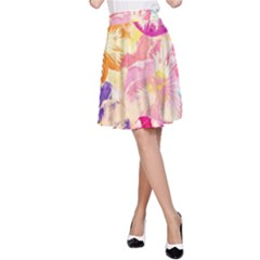 Colorful Pansies Field A-Line Skirt