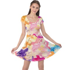 Colorful Pansies Field Cap Sleeve Dresses by DanaeStudio