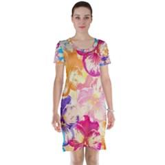 Colorful Pansies Field Short Sleeve Nightdress by DanaeStudio