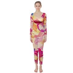 Colorful Pansies Field Long Sleeve Catsuit
