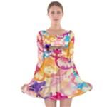 Colorful Pansies Field Long Sleeve Skater Dress