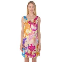 Colorful Pansies Field Sleeveless Satin Nightdress