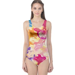 Colorful Pansies Field One Piece Swimsuit