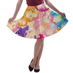 Colorful Pansies Field A-line Skater Skirt
