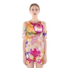 Colorful Pansies Field Cutout Shoulder Dress