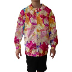 Colorful Pansies Field Hooded Wind Breaker (kids) by DanaeStudio