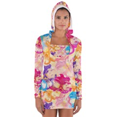 Colorful Pansies Field Women s Long Sleeve Hooded T-shirt