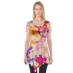 Colorful Pansies Field Short Sleeve Tunic  by DanaeStudio