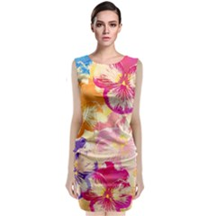 Colorful Pansies Field Classic Sleeveless Midi Dress by DanaeStudio