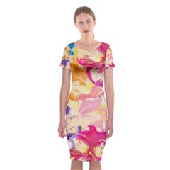 Colorful Pansies Field Classic Short Sleeve Midi Dress by DanaeStudio
