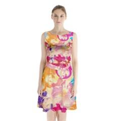 Colorful Pansies Field Sleeveless Chiffon Waist Tie Dress