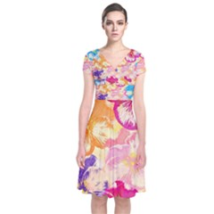 Colorful Pansies Field Short Sleeve Front Wrap Dress by DanaeStudio