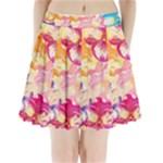 Colorful Pansies Field Pleated Mini Skirt