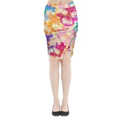 Colorful Pansies Field Midi Wrap Pencil Skirt