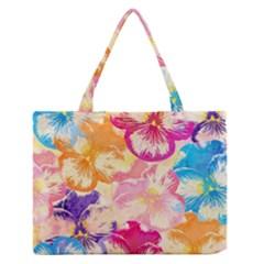 Colorful Pansies Field Medium Zipper Tote Bag