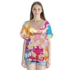 Colorful Pansies Field Flutter Sleeve Top