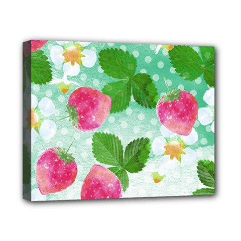 Cute Strawberries Pattern Canvas 10  X 8  by DanaeStudio