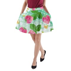 Cute Strawberries Pattern A Line Pocket Skirt by DanaeStudio