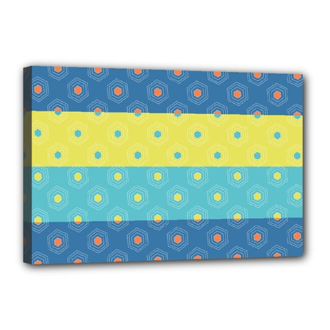 Hexagon And Stripes Pattern Canvas 18  X 12  by DanaeStudio