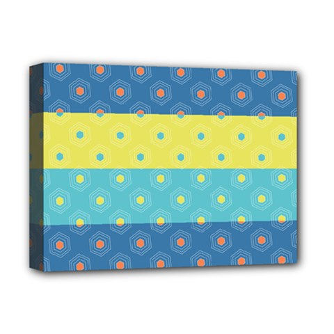 Hexagon And Stripes Pattern Deluxe Canvas 16  X 12   by DanaeStudio