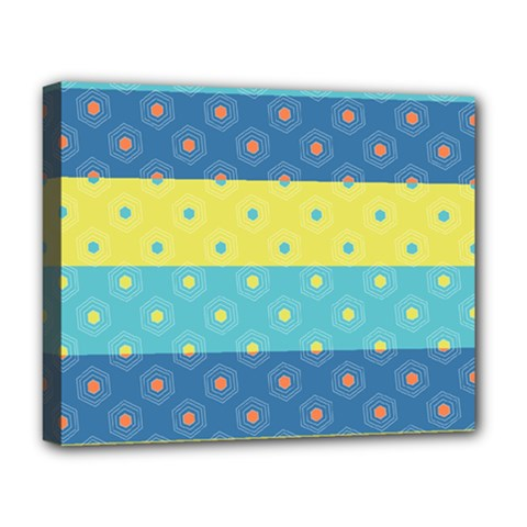 Hexagon And Stripes Pattern Deluxe Canvas 20  X 16   by DanaeStudio