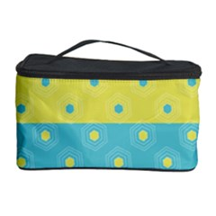 Hexagon And Stripes Pattern Cosmetic Storage Case by DanaeStudio