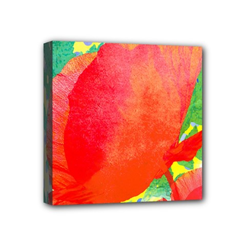 Lovely Red Poppy And Blue Dots Mini Canvas 4  X 4  by DanaeStudio