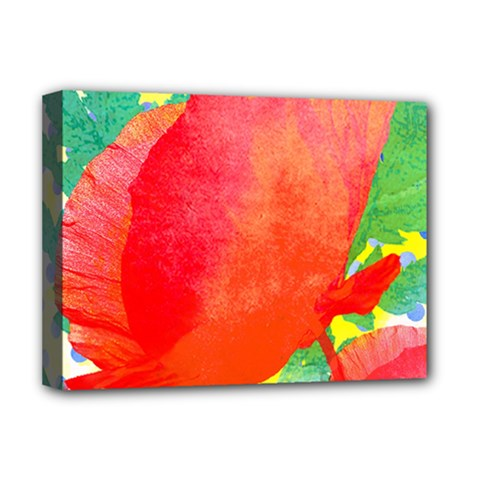 Lovely Red Poppy And Blue Dots Deluxe Canvas 16  X 12   by DanaeStudio