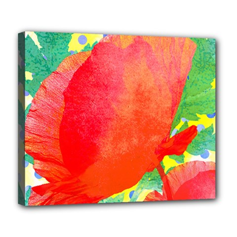 Lovely Red Poppy And Blue Dots Deluxe Canvas 24  X 20   by DanaeStudio