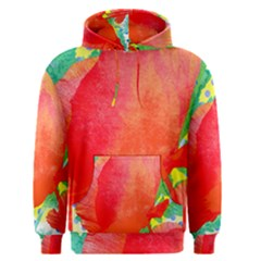 Lovely Red Poppy And Blue Dots Men s Pullover Hoodie