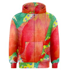 Lovely Red Poppy And Blue Dots Men s Zipper Hoodie